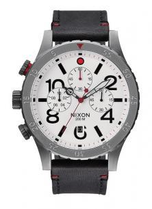 Hodinky Nixon 48-20 Chrono Leather Gunmetal/White A363 486
