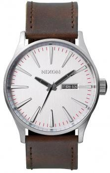 Hodinky Nixon Sentry Leather Silver Brown A105 1113