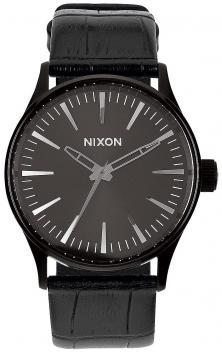 Hodinky Nixon Sentry 38 Leather Black Gator A377 1886